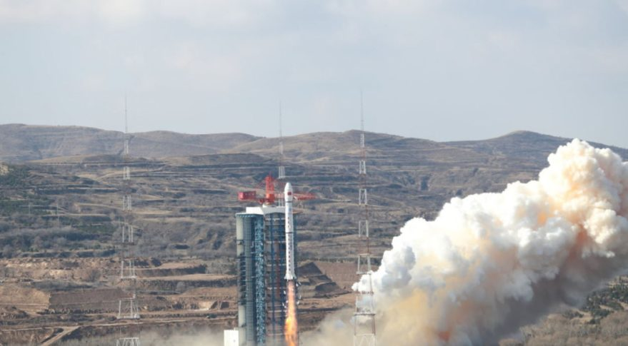 A Long March 4B lifts off from Taiyuan at 11:22 p.m. Nov. 2, 2019.