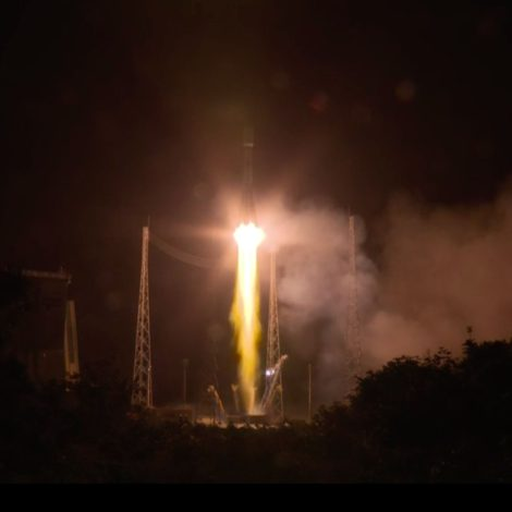 A Soyuz rocket lifts off from Kourou in French Guiana at 3:54 Eastern Dec. 18, 2019.