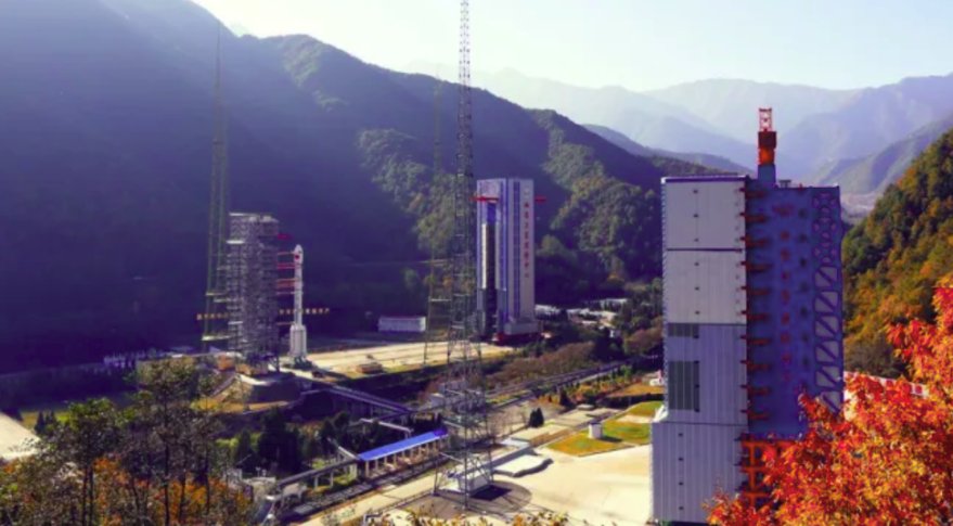 Launch towers at Xichang Satellite Launch Center. The complex is being expanded to facilitate a new generation of rockets.