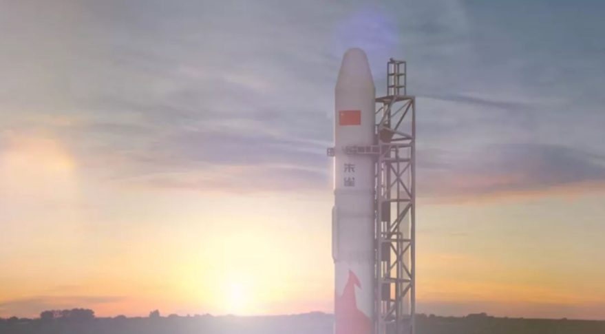 Artist's impression of a Zhuque-2 launch vehicle on a launch pad with a distant sunrise.