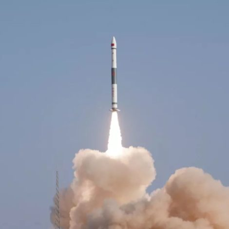 Shot of launch of the Kuaizhou-1A light solid rocket from Jiuquan at 10:02 p.m. Eastern Jan. 15 carrying the Yinhe-1 5G satellite.
