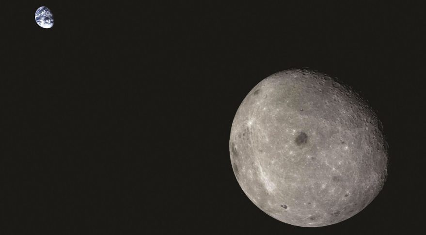 The far side of the moon and distant Earth, imaged by the Chang'e-5 T1 mission service module.
