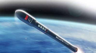 Render of the Galactic Energy Pallas-1 launch vehicle above the Earth.