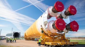 SLS core stage rollout
