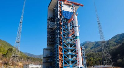 A Long March 2D rocket on the pad at Xichang.