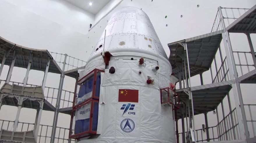 A prototype Chinese new-generation spacecraft undergoing testing.