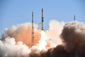 A Kuaizhou-1A carrying two Chinese commercial Xingyun satellites lifts off from a TEL at Jiuquan May 11, 2020.