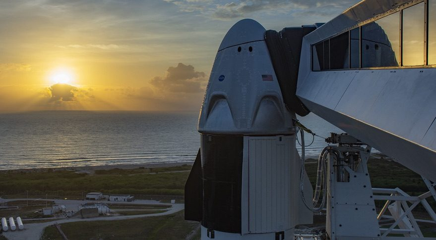 Crew Dragon at sunrise