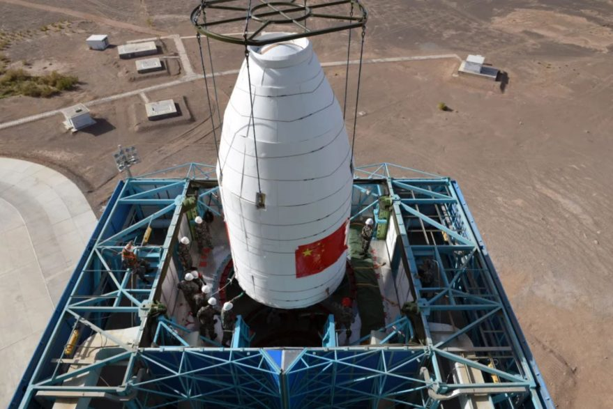 Stacking of a Long March 2D payload fairing at Jiuquan in the Gobi Desert in June 2020.