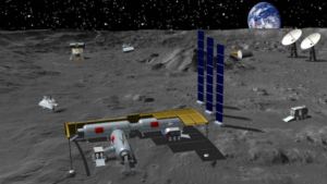 Render of a conceptual Chinese lunar base.