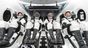 Crew-1 astronauts in Crew Dragon