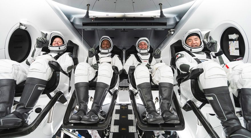 Crew-1 astronauts in Crew Dragon