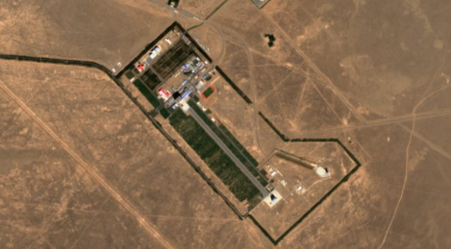 A view of the Jiuquan launch center from the Sentinel-2 satellite. China's reusable experimental spacecraft launched from the facility Sept. 4.