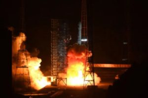 Liftoff of a Long March 3B carrying the Gaofen-13 satellite from Xichang Satellite Launch Center Oct.11, 2020.