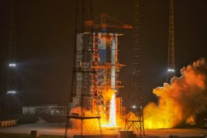 A Long March 2C lifts off in the dark from LC-3 at Xichang carrying the Yaogan-30 (07) group of satellites.