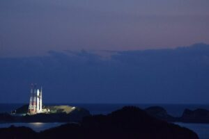 H-IIA No. 43 at Tanegashima space port hours ahead of launch of the JDRS-1 satellite.