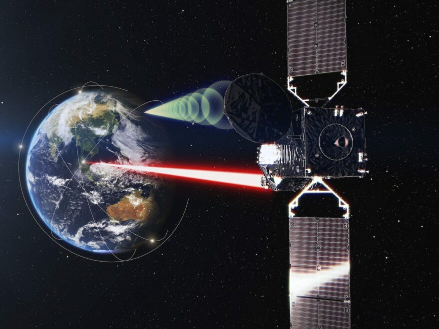 Illustration of the LUCAS optical data relay payload on the JDRS-1 satellite.
