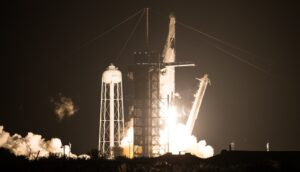 A SpaceX Falcon 9 rocket, carrying a Crew Dragon spacecraft with four astronauts on board, lifts off from the Kennedy Space Center Nov. 15
