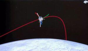 Representation of the Chang'e-5 lander in low lunar orbit ahead of landing.