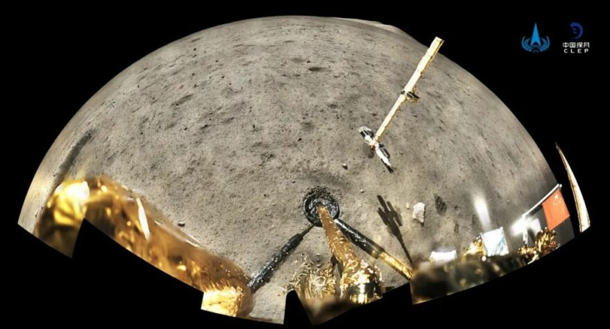 A panorama returned by the Chang'e-5 lander, showing robotic sampling arm and scoop marks in lunar regolith.