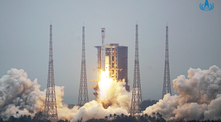 The first Long March 8 launch, lifting off from Wenchang.