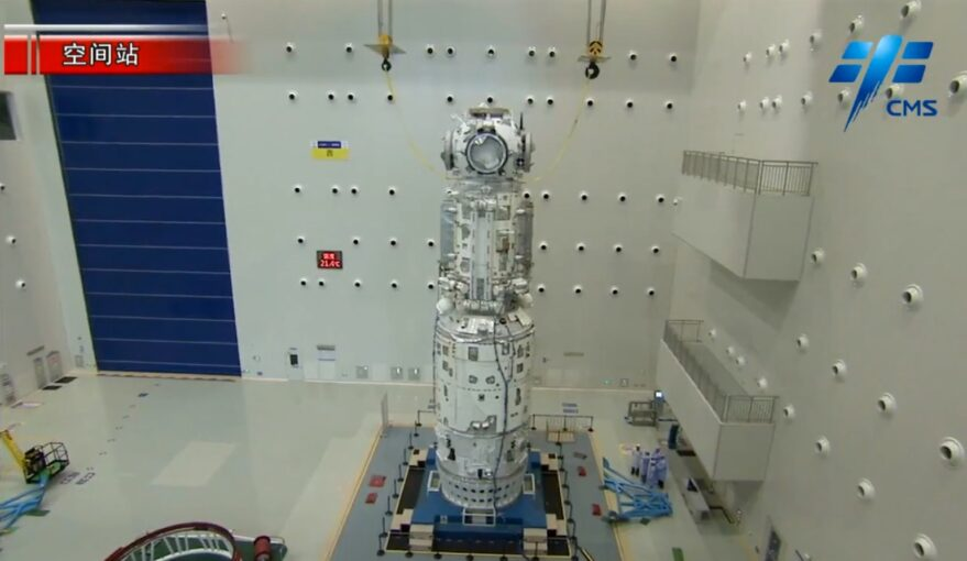 The Tianhe core module and docking hub of the Chinese Space Station.