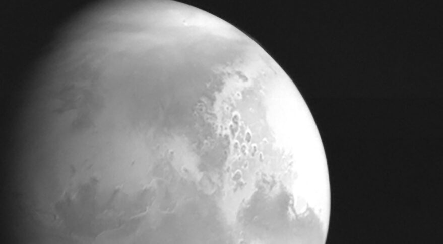 An image of Mars returned from Tianwen-1 from 2.2 million kilometers, ahead of Mars orbit insertion.