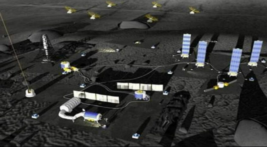 An artist conception of the International Lunar Research Station (ILRS), post-2030.