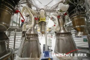 Assembly of the four Tianque-12 methalox engines to power Landspace's Zhuque-2 rocket.