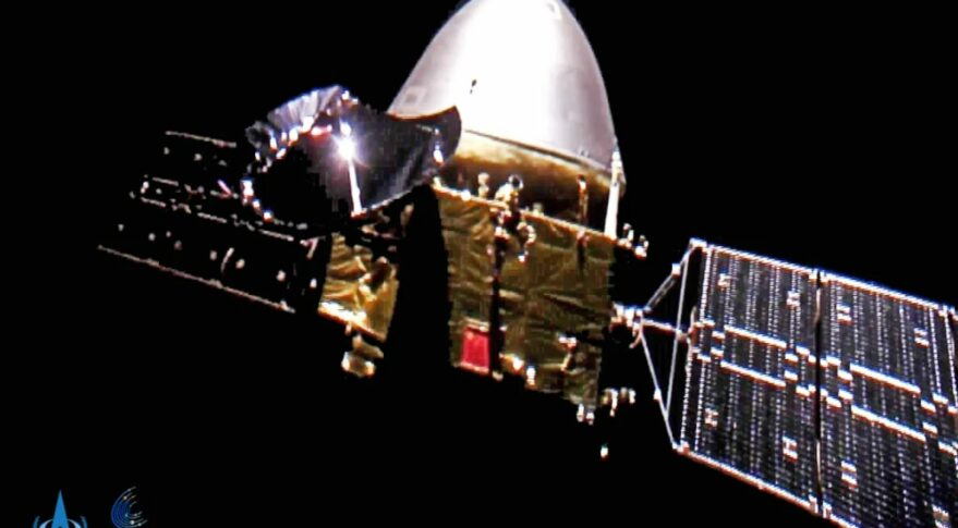 Tianwen-1 in deep space in October 2020, imaged by a detached camera.