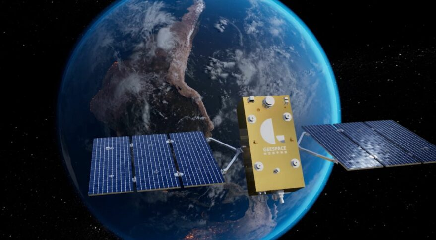 A render of a satellite in low Earth orbit for the Geely satellite constellation for autonomous self-driving.