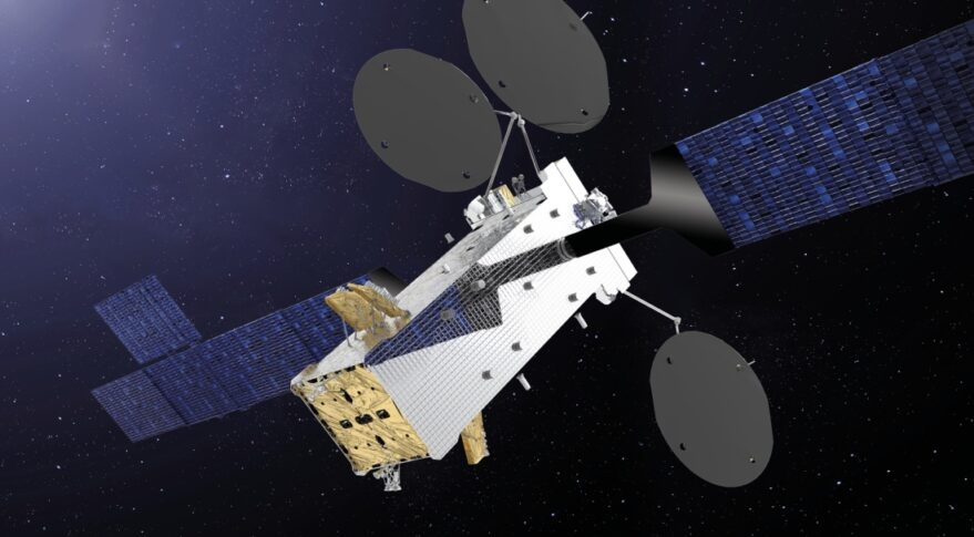 A rendering of the SATRIA satellite