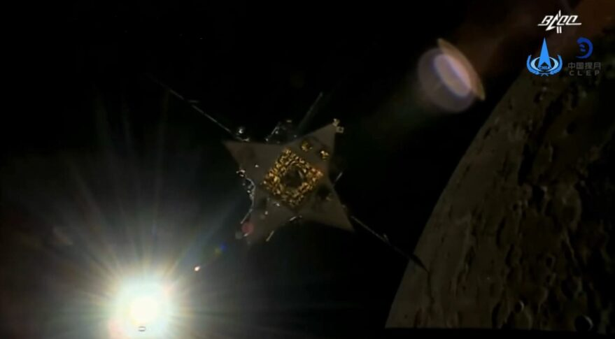 The Chang'e-5 ascent vehicle shortly after separation from the Chang'e-5 orbiter while in lunar orbit.