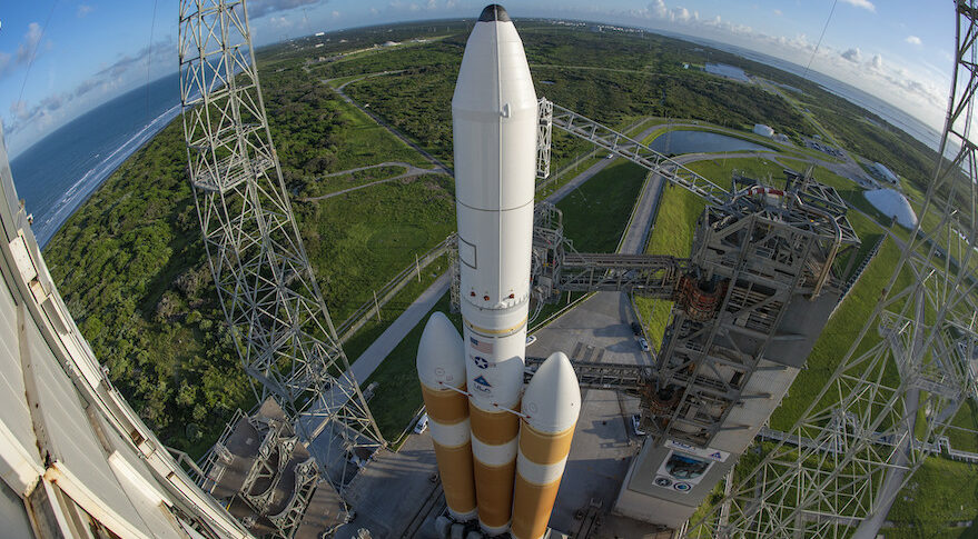 A wide-angle view of a ULA Delta 4 Heavy rocket