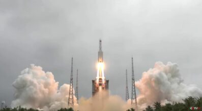 Liftoff of the Long March 5B rocket carrying the Tianhe core module for the Chinese Space Station.