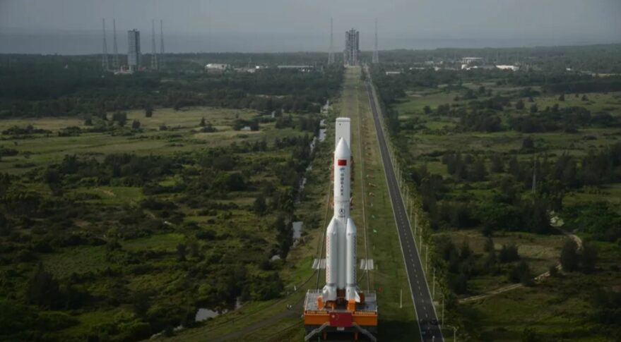 Rollout of the first Long March 5B to the pad at Wenchang, South China in April 2020.