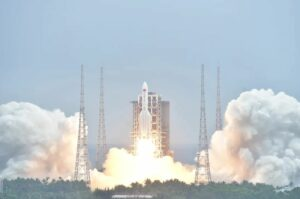 The second Long March 5B rocket launches the core module of China's space station, on April 28, 2021. The rocket's first stage is set to make an uncontrolled reentry.