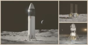 Clockwise from left: Human Landing System concepts from SpaceX, Dynetics and Blue Origin.