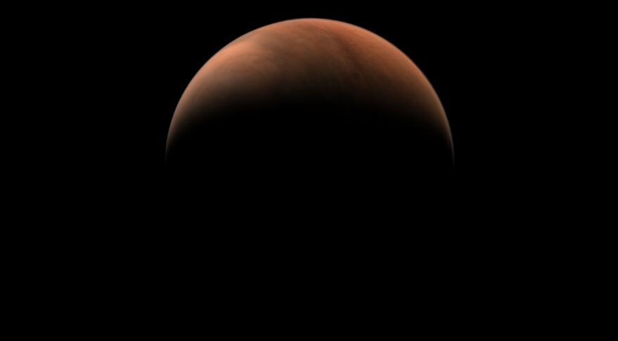 A crescent of the northern hemisphere of Mars taken by Tianwen-1's medium-resolution camera in March 2021.