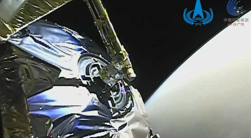 An engineering camera view of Mars as Tianwen-1 enters orbit, months ahead of the Zhurong rover landing attempt.