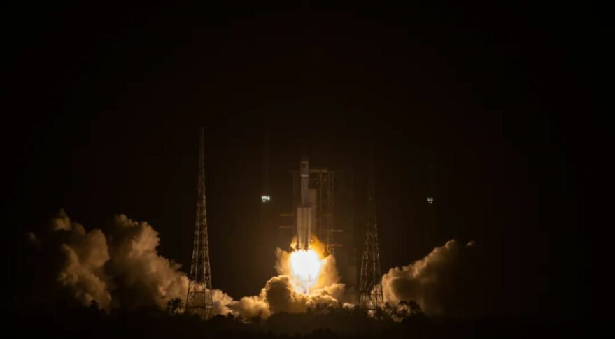 A Long March 7 carrying the Tianzhou-2 spacecraft lifts off from Wenchang ahead of an orbital docking with Tianhe.