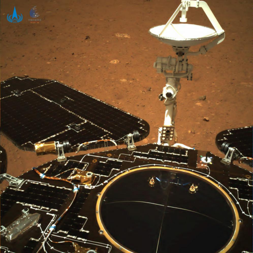 One of the first images returned from Zhurong rover, showing solar arrays and the surface of Utopia Planitia.