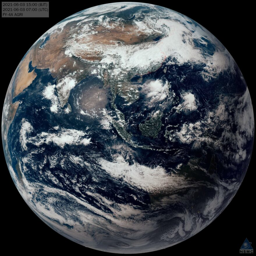 A full disk view from the Fengyun-4A satellite.