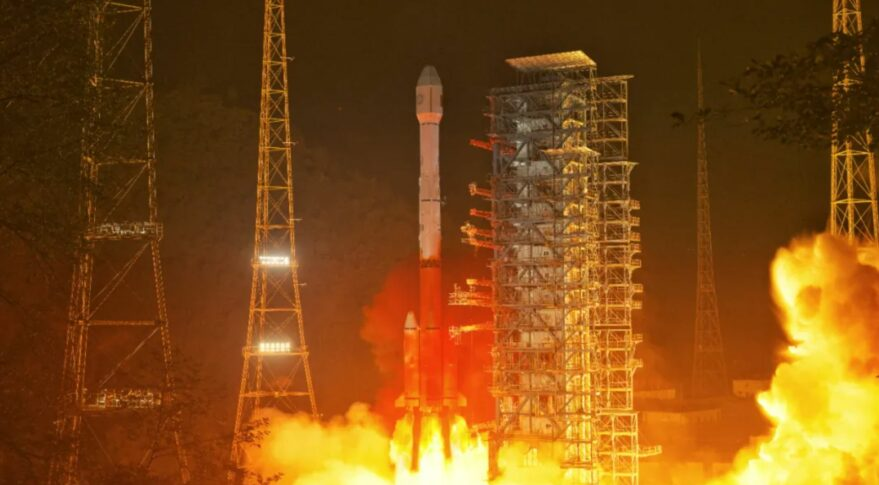 A Long March 3B lifts off from Xichang carrying the fengyun-4B weather satellite, June 2, 2021.