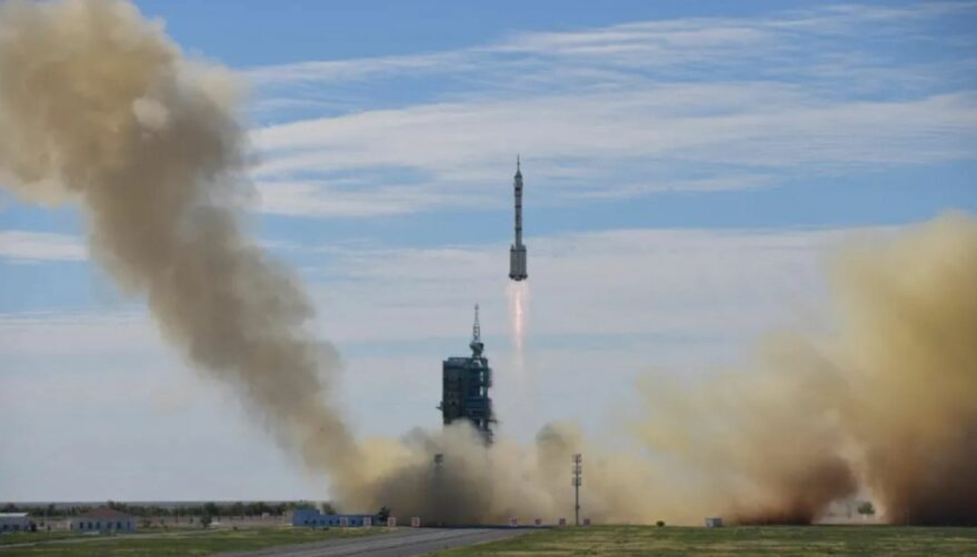 Liftoff of the Long March 2F carrying Shenzhou-12 at 9:22 p.m. Eastern, June 16.