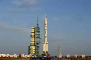 Shenzhou-12 atop a Long March 2F being vertically transferred to the pad, June 9, 2021.