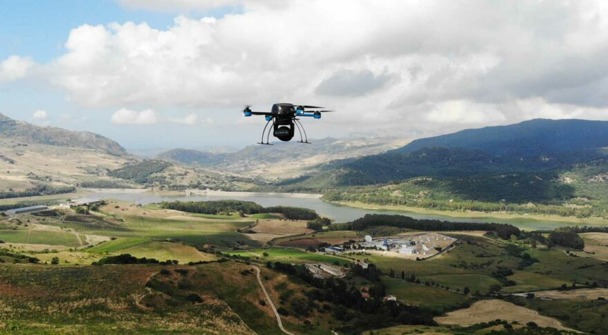 A drone hovers in the sky