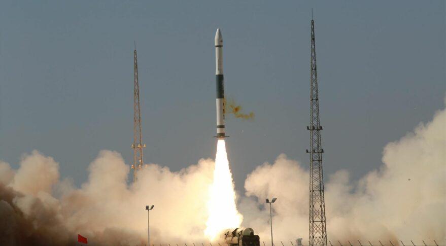 Liftoff of the Kuaizhou-1A solid rocket sending the Jilin-1 Gaofen 02D Earth observation satellite into orbit.