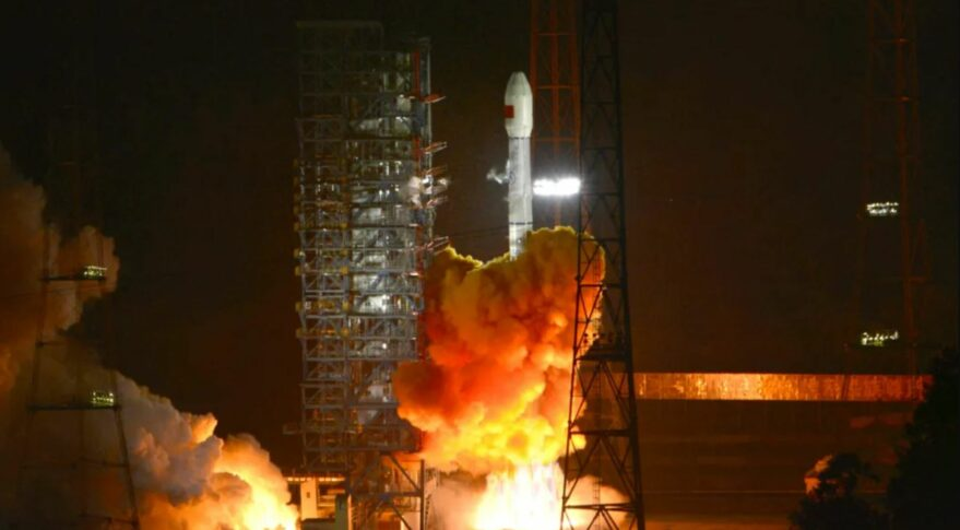 Liftoff of the Long March 3B from Xichang, carrying the ChinaSat-9B (Zhongxing-9B) communications satellite, September 9, 2021.